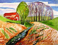 Springtime Landscape with Red House